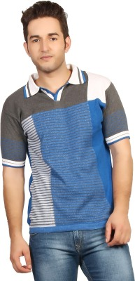 Everyuth Striped Men's Polo Blue T-Shirt