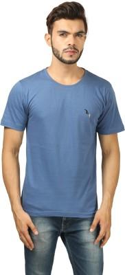 BrownBird Solid Men's Round Neck Blue T-Shirt