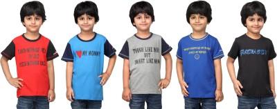NautieCutie Printed Boy,s Round Neck Multicolor T-Shirt
