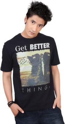 Zootx Printed Men's Round Neck Black T-Shirt