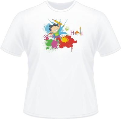 Lycra Solid Men's Round Neck White T-Shirt