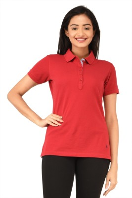 TSG Bliss Solid Women's Polo Neck Red T-Shirt