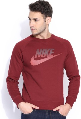 Nike Solid Men's Round Neck Maroon T-Shirt