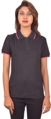Blueash Self Design Women's Polo Neck Black T-Shirt