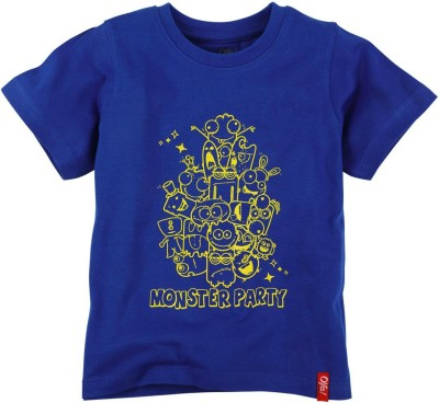 Oye Printed Boy's Round Neck Blue T-Shirt