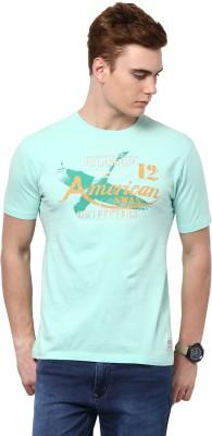 American Swan Graphic Print Men's Round Neck Green T-Shirt