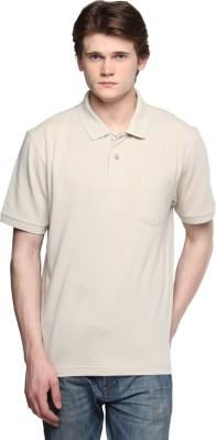 Tempt Solid Men's Polo Neck Beige T-Shirt