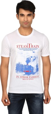 Strak Printed Men's Round Neck White T-Shirt