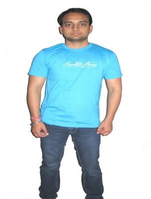 ORKO Solid Men's Round Neck Blue T-Shirt