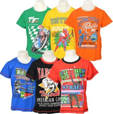 Little Star Printed Boy's Round Neck Multicolor T-Shirt