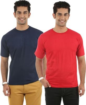 Fidato Solid Men's Round Neck Dark Blue, Red T-Shirt