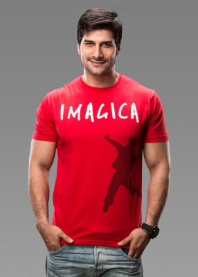 Imagica Printed Men's Round Neck Red T-Shirt