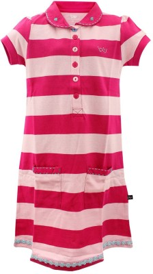 Bells and Whistles Striped Girl's Polo Pink T-Shirt