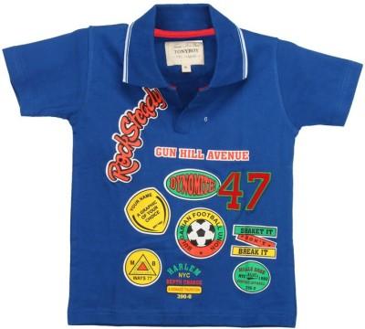 TonyBoy Printed Boy's Polo Neck Blue T-Shirt