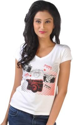 No Code Printed Women's V-neck Grey T-Shirt