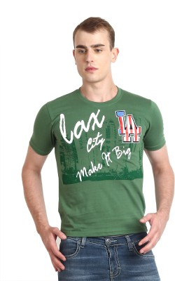 Teen Tees Graphic Print Men,s Round Neck Dark Green T-Shirt