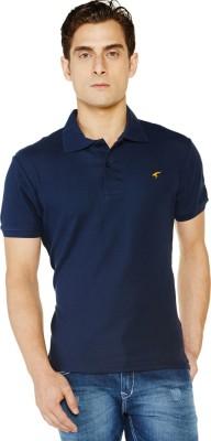 Globus Solid Men's Polo Neck Blue T-Shirt
