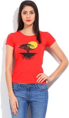STYLE QUOTIENT BY NOI Printed Women's Round Neck Red T-Shirt