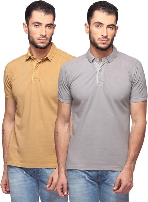 GOAT Solid Men's Polo Neck Beige, Grey T-Shirt