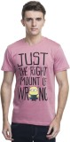 Minions Printed Men's Round Neck Pink T-...