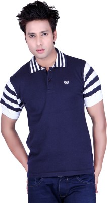 Dezyn Solid Men's Polo Neck Blue, White T-Shirt