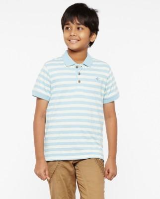 Do U Speak Green Striped Boy's Polo Blue T-Shirt