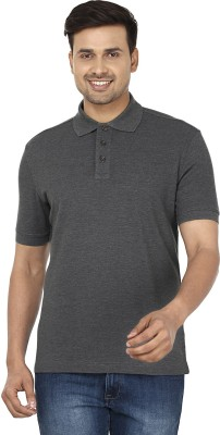Wills Lifestyle Solid Men's Polo Grey T-Shirt