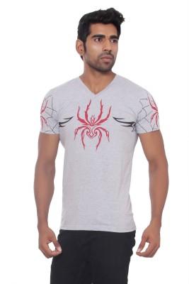 Pezzava Self Design Men's V-neck Reversible Grey, Red T-Shirt