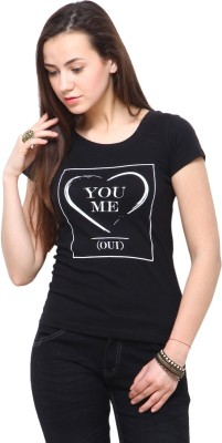 Yepme Printed Women,s Round Neck Black T-Shirt