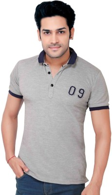 GoPlay Solid Men's Polo Neck Grey T-Shirt