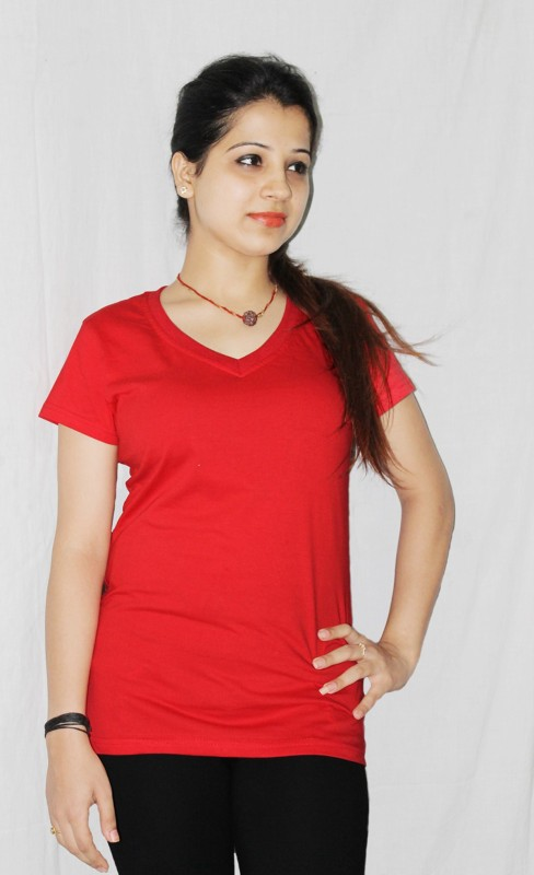 Xarans Solid Women's V-neck Red T-Shirt