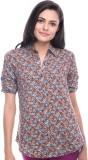 Virsa Floral Print Women's V-neck Brown ...