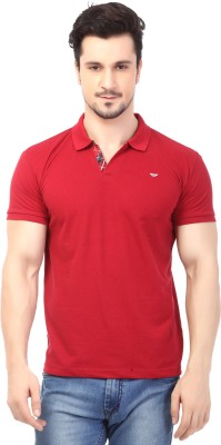 Rugby Solid Men's Polo Neck Red T-Shirt