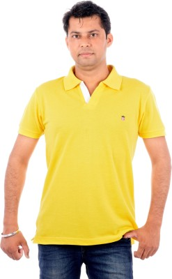 Wells Smith Solid Men,s Polo Gold T-Shirt