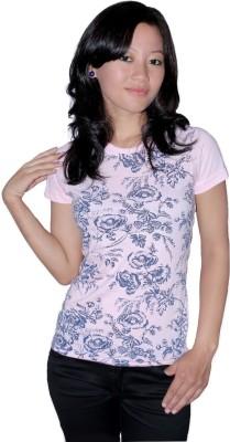 KRISHBAN Printed Girl's Round Neck Pink T-Shirt