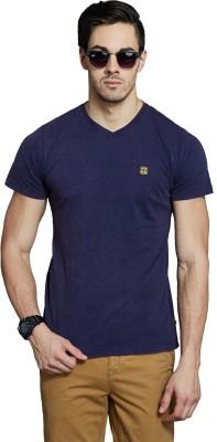 Route 66 Solid Men's V-neck Dark Blue T-Shirt