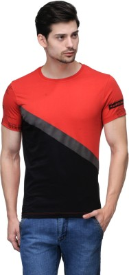 Wear Your Mind Self Design Men's Round Neck Red, Black T-Shirt