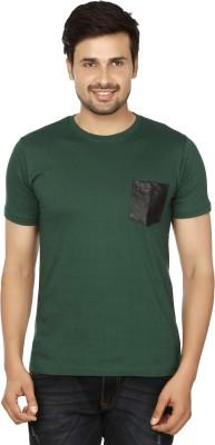Essentiele Applique Men's Round Neck Green T-Shirt