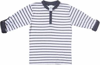 Bio Kid Striped Boy's Henley White, Grey T-Shirt