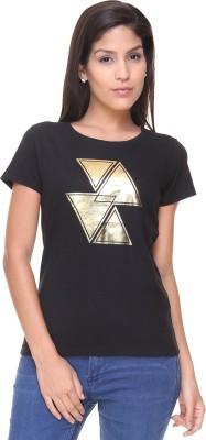 Alibi By Inmark Graphic Print Women's Round Neck Black T-Shirt