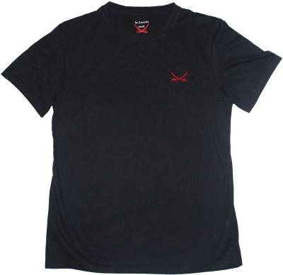 2swords Solid Men,s Round Neck Black T-Shirt