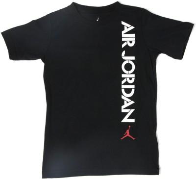 Jordan Kids Printed Boy's Round Neck Black T-Shirt