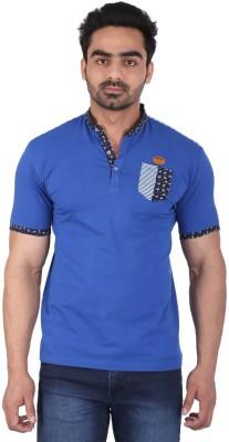 PureSoul Solid Men's Mandarin Collar Blue T-Shirt