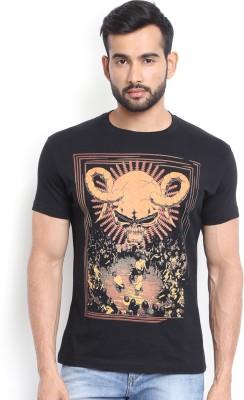 Soul Deep Skin Graphic Print Men's Round Neck Black T-Shirt