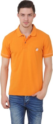 Roar and Growl Solid Men's Polo Neck Orange T-Shirt