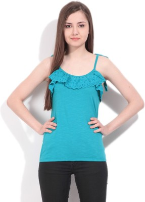 Elle Solid Women's Round Neck Green T-Shirt