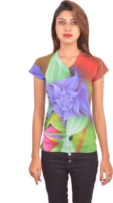 Blueash Graphic Print Women's V-neck Multicolor T-Shirt