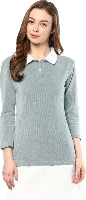 Trend18 Solid Women's Polo Neck Light Blue T-Shirt