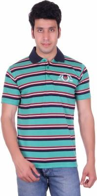 Deutz Striped Men's Polo Neck Green T-Shirt