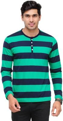 TSX Striped Men's Henley Green, Dark Blue T-Shirt